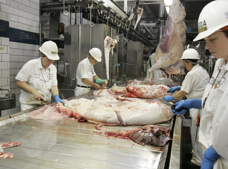 USDA inspectors work at the Cargill meat packing plant in Schuyler, Neb., Tuesday, July 8, 2008.(AP Photo/Nati Harnik)
