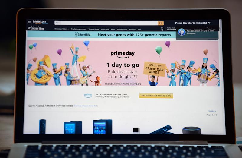 The Amazon website is seen on a computer screen on July 14, 2019 in Orlando, Florida. On July 15 and 16, 2019, Amazon holds its annual Amazon Prime Day, a 48-hour event during which Prime members can shop online for hundreds of thousands of specially discounted items. (Photo by Paul Hennessy/NurPhoto via Getty Images)
