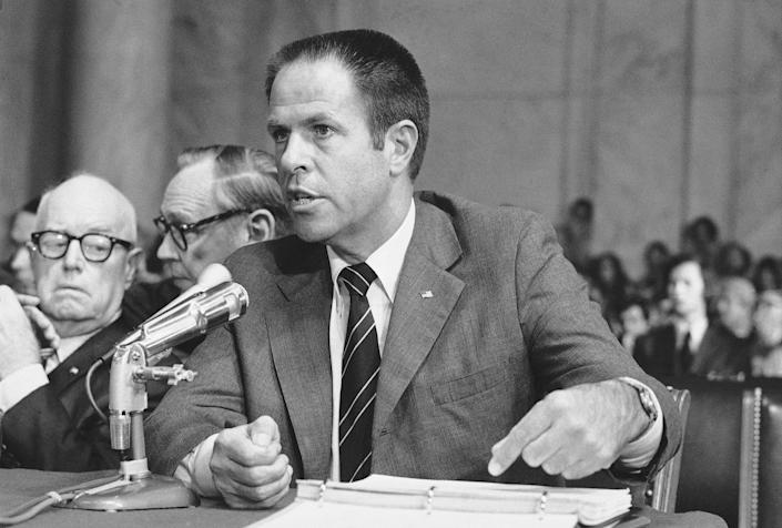 <p>Former top aide to the president H.R. Haldeman testifies before the Senate Watergate Committee in Washington for the second day, July 31, 1973. Behind Haldeman are his attorneys John J. Wilson, left, and Frank Strickler. (Photo: AP) </p>
