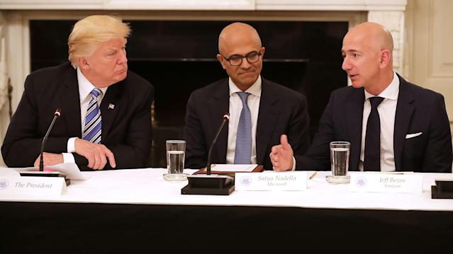 President Trump, Microsoft CEO Stya Nadella, and Amazon CEO Jeff Bezos (Getty Images)