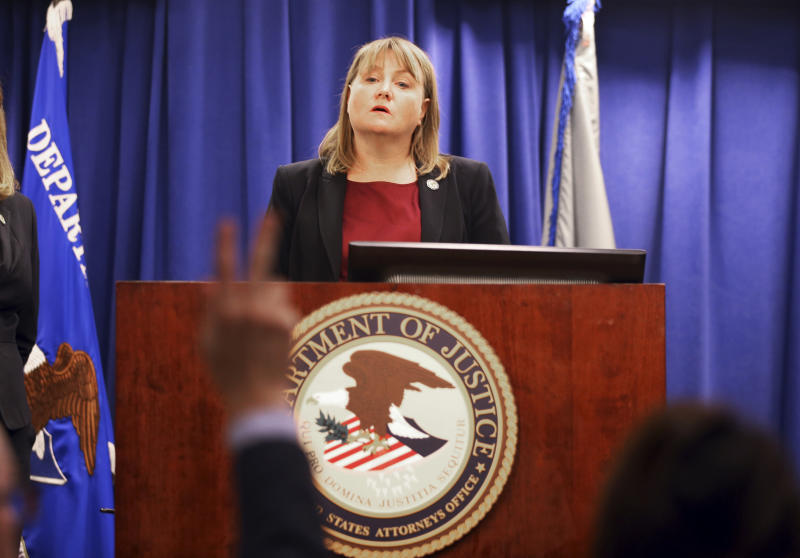 United States Attorney Tracy Wilkison announces a criminal complaint being filed against a North Korean national accused in a series of destructive cyberattacks around the world at a news conference in Los Angeles Thursday Sept. 6 2018. The complaint