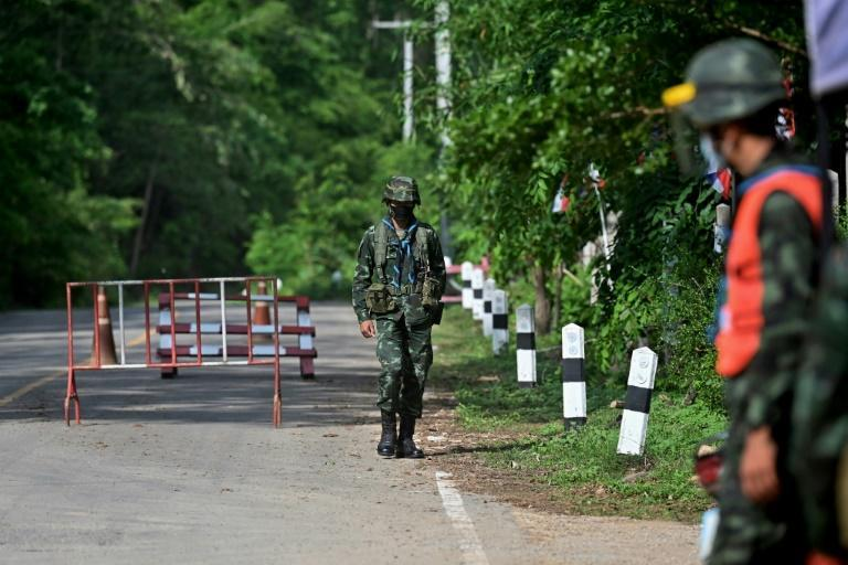 Fighting between the Myanmar military and the KNU has forced displaced residents across the border into Thailand, where the army has set up checkpoints