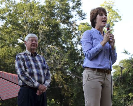 Handout of Gwen Graham with father, former Florida state senator and governor Bob Graham, speaking to supporters at rally in Miccosukee