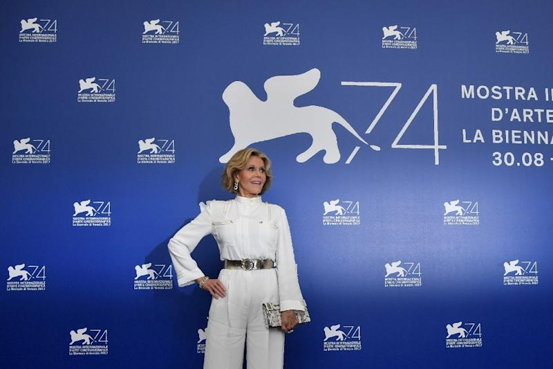 "US actress Jane Fonda attends the photocall of the movie ""Our Souls at Night"" presented out of competition during the 74th Venice Film Festival on September 1, 2017 at Venice Lido"