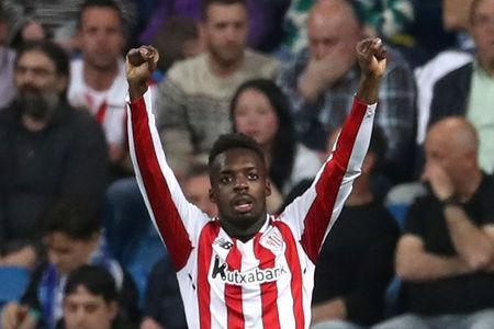 Soccer Football - La Liga Santander - Real Madrid vs Athletic Bilbao - Santiago Bernabeu, Madrid, Spain - April 18, 2018 Athletic Bilbao's Inaki Williams celebrates scoring their first goal REUTERS/Susana Vera
