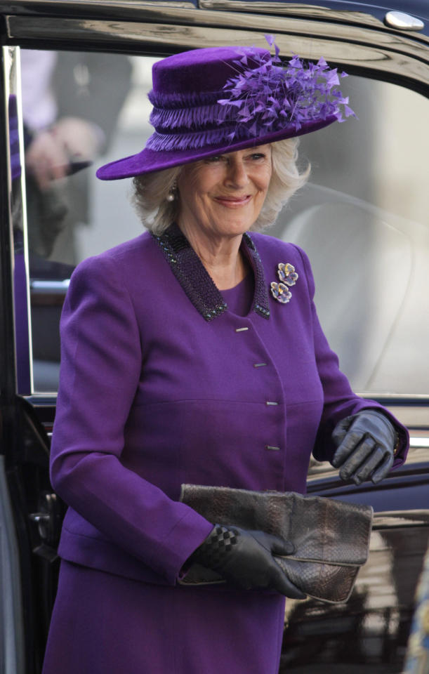 Britain's Camilla Duchess of Cornwall arrives to attend the Commonwealth Day Observance at Westminster Abbey in central London, Monday, March 12, 2012. (AP Photo/Lefteris Pitarakis)