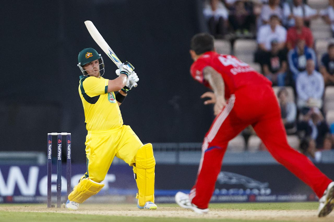 Australia's Aaron Finch in action during the International Twenty20 match at the Ageas Bowl, Southampton.