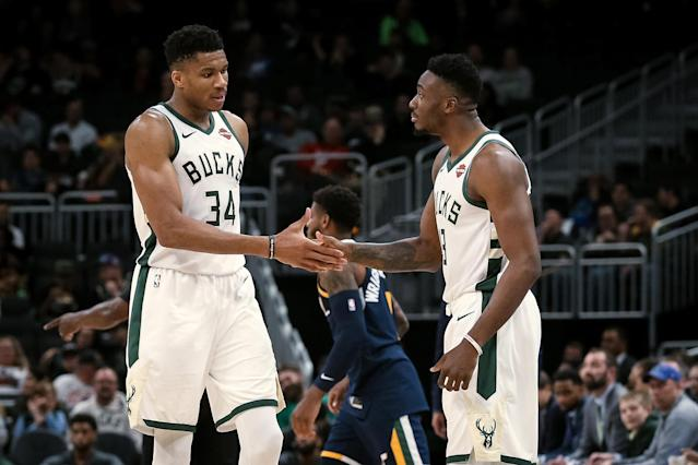 Giannis Antetokounmpo would love to play with both Thanasis Antetokounmpo and Kostas Antetokounmpo. (Photo by Dylan Buell/Getty Images)