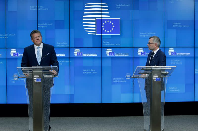 FILE PHOTO: News conference after the General Affairs Council at the European Council Headquarters in Brussels