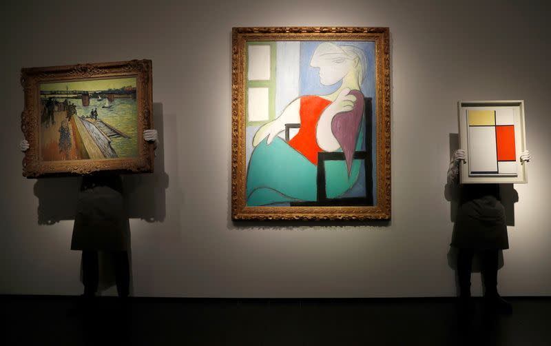 Artworks go on show ahead of Christie's New York spring season of evening sales, in London