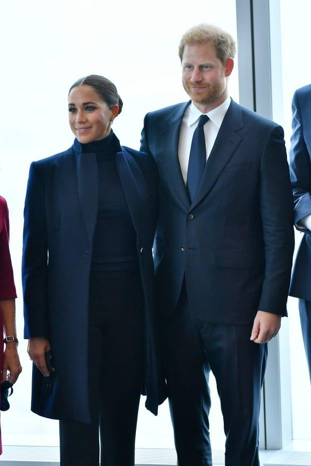Meghan, Duchess of Sussex and Prince Harry, Duke of Sussex pose at One World Observatory on September 23, 2021 in New York City. <p>Photo: Roy Rochlin/Getty Images</p>