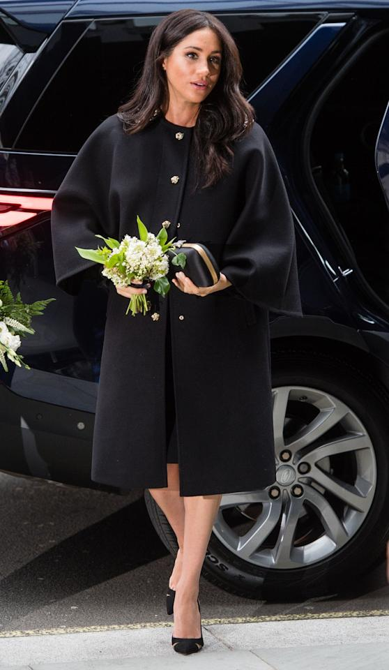 "<p><em>March 19, 2019 </em>- On an unannounced visit to New Zealand House in London, Meghan, Duchess of Sussex signed a book of condolences honoring the victims in Christchurch. She opted for a simple black coat and <a rel=""nofollow"" href=""https://bohrunga.com/collections/earrings/products/discologo-studs-9ct?"">Boh Runga earrings</a> given to her by New Zealand's Prime Minister Jacinda Ardern for the solemn occasion.</p>"