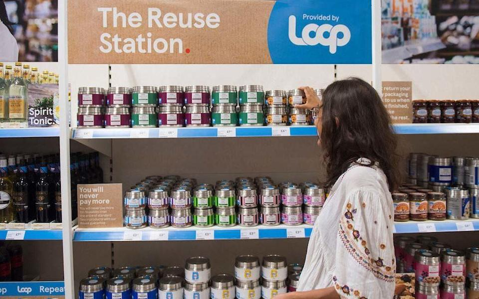 One of Tesco's new Reuse stations, powered by Loop - PA/Tesco