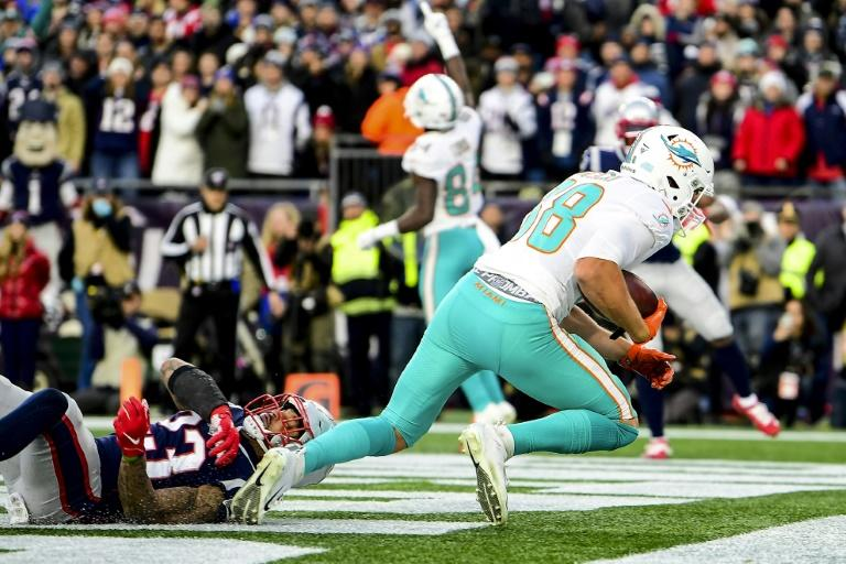 Miami's Mike Gesicki catches the game-winning touchdown in the Dolphins' upset win over the New England Patriots