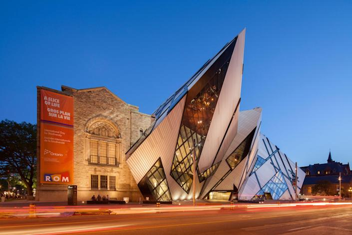 The Royal Ontario Museum has a rich past that can be studied by the building's architecture. It was first built in 1914 in a neo-Romanesque style, only to be later renovated in an Art Deco–inspired form. By 2007, Daniel Libeskind added a multimillion-dollar extension made primarily of glass, aluminum, and steel.