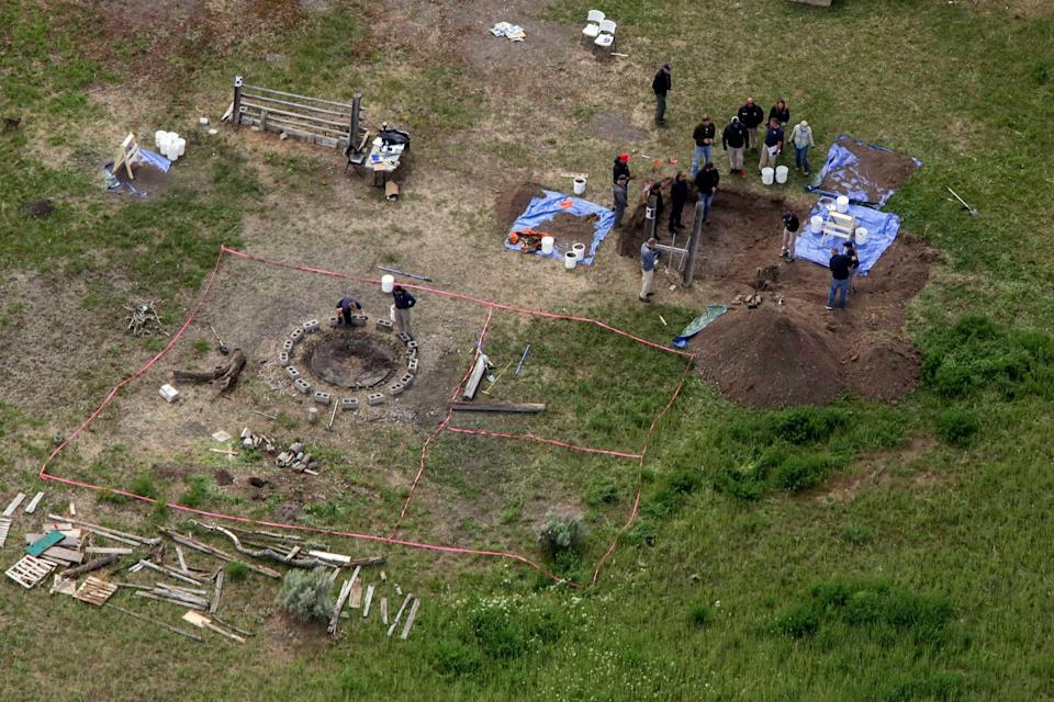 An aerial view of Todd Daybell's backyard, where the remains of JJ Vallow and Tylee Ryan were found in June. / Credit: AP