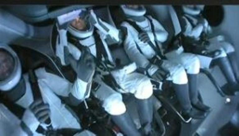 The first all-civilian crew to orbit the Earth, inside the SpaceX Dragon capsule (AFP/Handout)