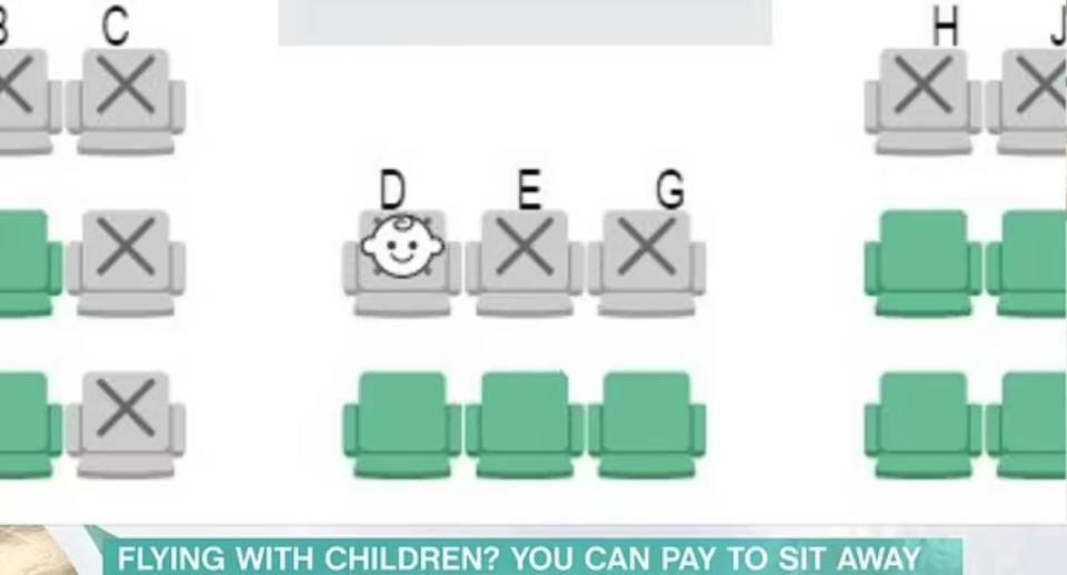 A screenshot of the system, which was launched back in 2019 and indicates where children aged under two will be seated. Source: This Morning