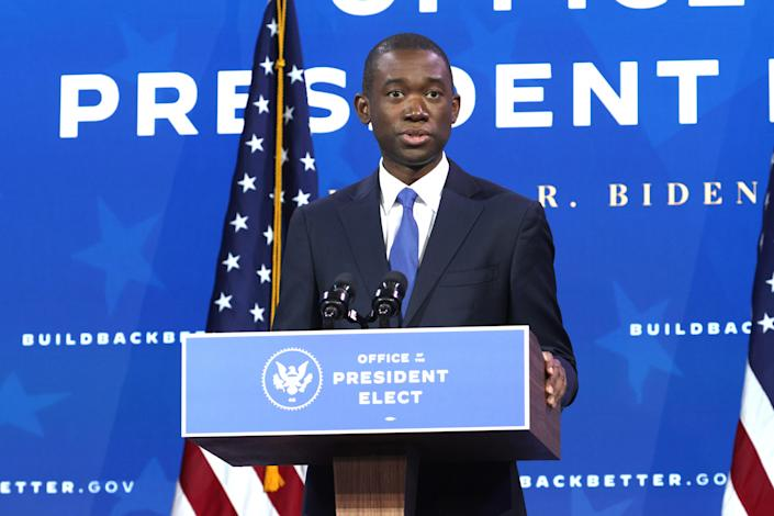 U.S. Deputy Secretary of the Treasury nominee Wally Adeyemo speaks during an event to name President Biden economic team at the Queen Theater on December 1, 2020 in Wilmington, Delaware. / Credit: Getty Images