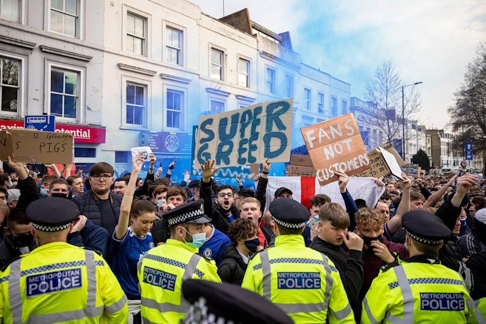 <p>The protest outside Stamford Bridge were an example of fan power in action</p> (Getty)