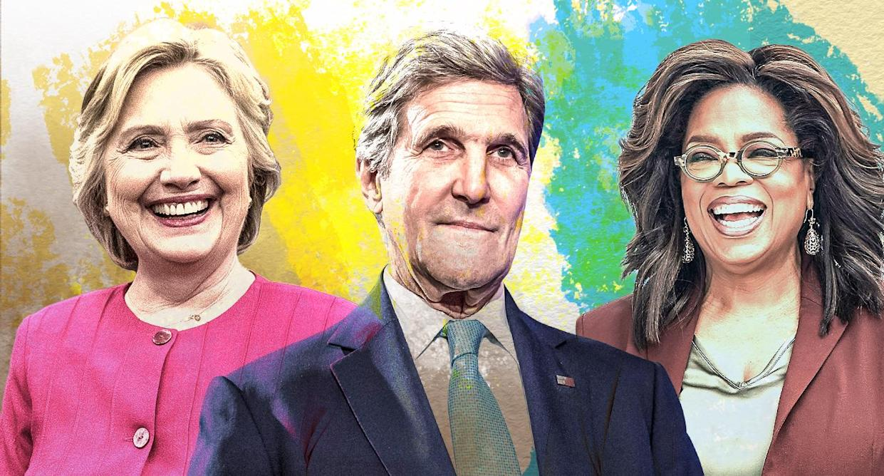 Hillary Clinton, John Kerry and Oprah Winfrey (Yahoo News photo illustration; photos: AP, Getty Images)