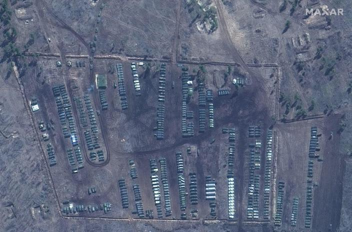 A satellite image provided by Maxar Technologies shows tanks and other military equipment at the Russian military's Pogorovo training area, near Voronezh, Russia on April 10, 2021. / Credit: Satellite image ©2021 Maxar Technologies