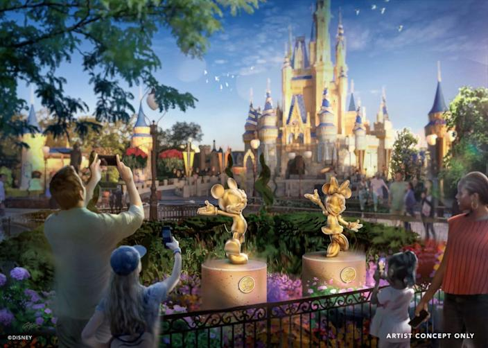 An artist rendering of new statues that will debut at Disney World for the theme park's 50th anniversary.