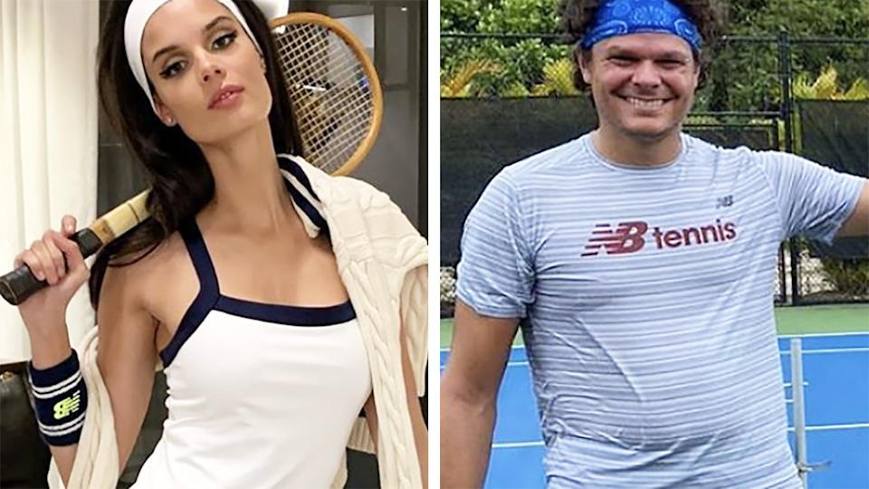 Camille Ringoire, the model girlfriend of Canadian tennis star Milos Raonic, didn't take a rival's crack about her partner's weight lying down. Pictures: Instagram