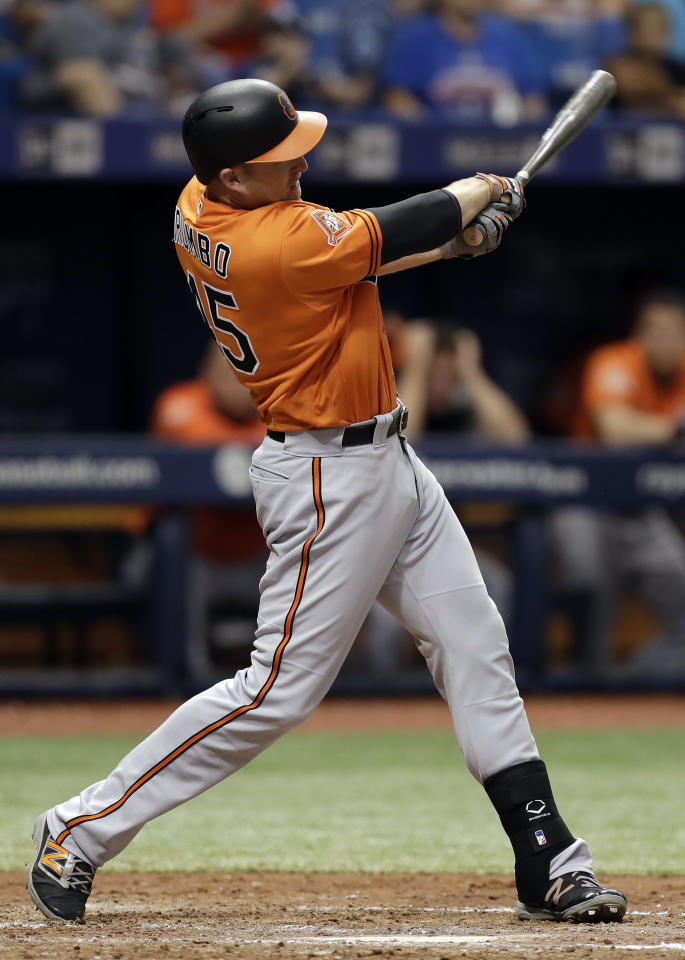 Baltimore Orioles' Mark Trumbo lines a two-run double off Tampa Bay Rays relief pitcher Jumbo Diaz during the seventh inning of a baseball game Saturday, June 24, 2017, in St. Petersburg, Fla. (AP Photo/Chris O'Meara)