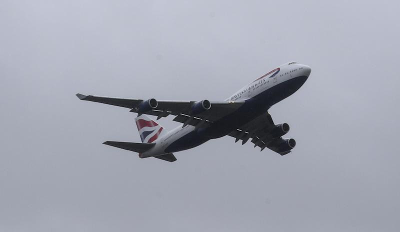 Aircraft G-CIVY, one of the last two British Airways Boeing 747-400 aircraft, conducts a fly past after its final departure from Heathrow Airport, London. The retirement of the fleet was brought forward as a result of the impact the Covid-19 pandemic had on the airline and the aviation sector.