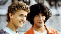 Alex Winter and Keanu Reeves return as the titular time-travelling duo. Their middle-aged rut is interrupted by a visitor from the future, who warns of the need to make a song that will save the universe. So far, so bodacious. (Credit: Orion Pictures)