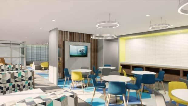 A rendering of the interior of the new hotel.
