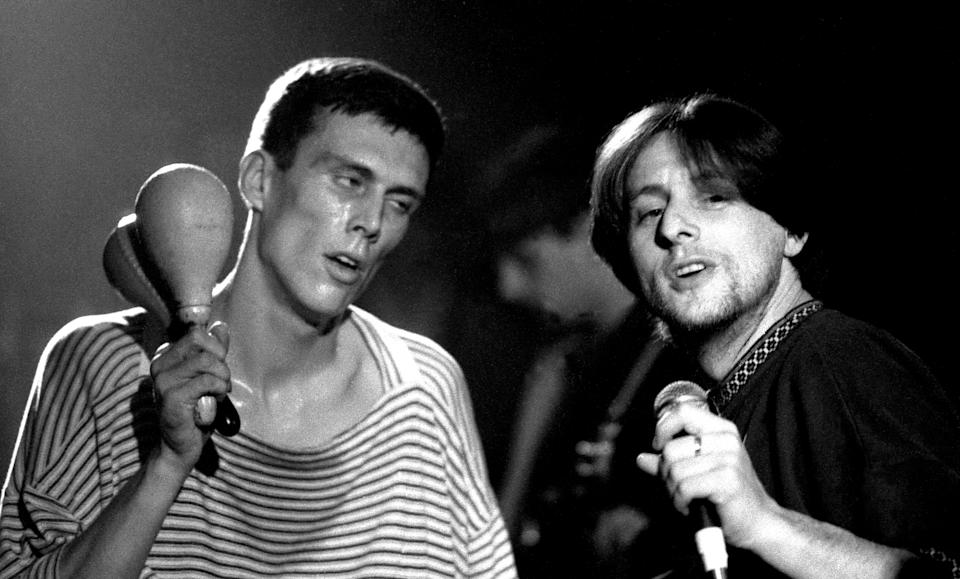 Shaun Ryder and Bez of the Happy Mondays, Looking wasted. Live at the Free Trade Hall, Manchester. 18.11.1989. (Photo by: Peter J Walsh/PYMCA/Avalon/Universal Images Group via Getty Images)