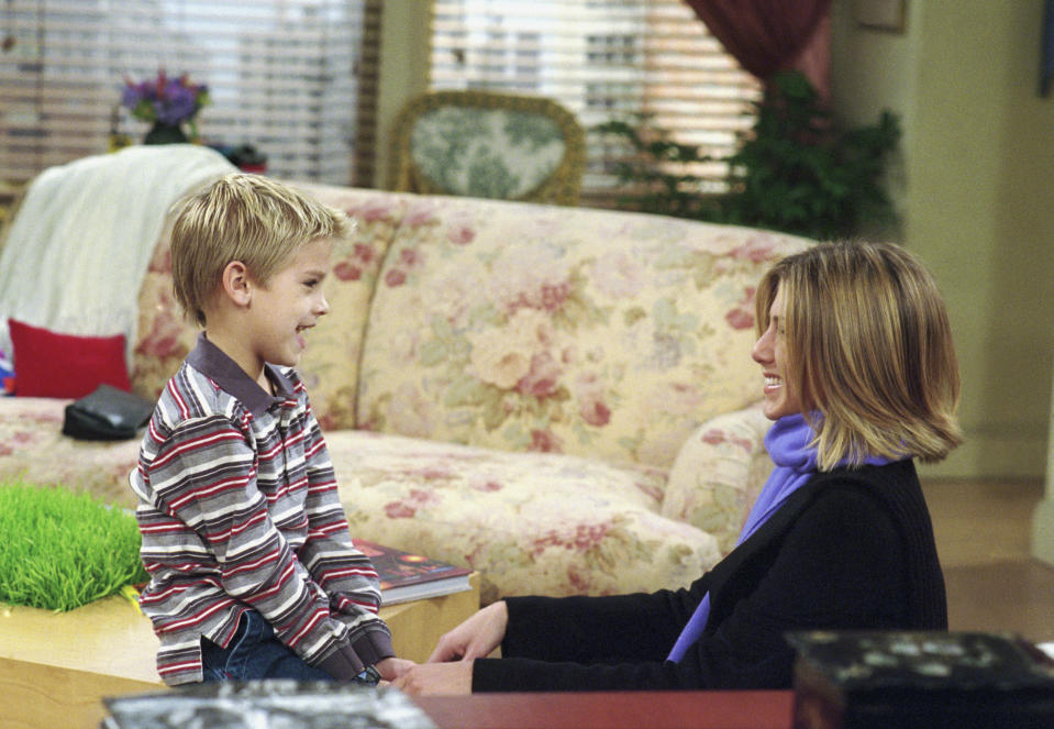 Cole Sprouse as Ben Geller, Jennifer Aniston as Rachel Green in Friends. (Photo by NBC/NBCU Photo Bank via Getty Images)