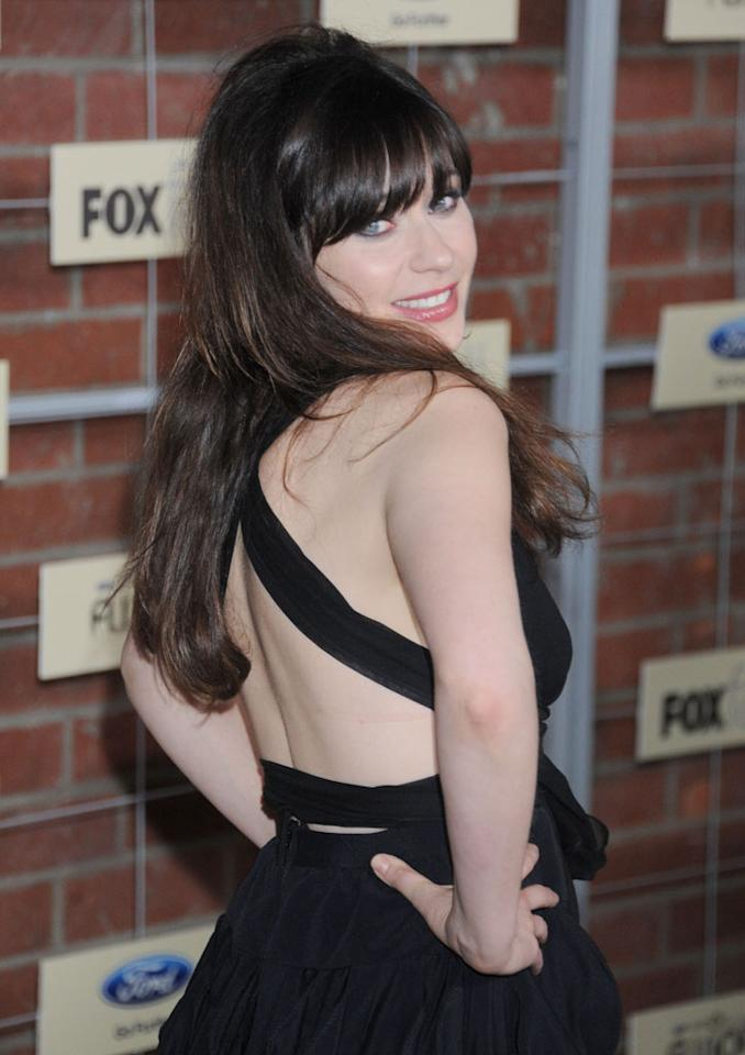 """Zooey Deschanel (""""New Girl"""") attends Fox's Fall 2012 Eco-Casino party at The Bookbindery on September 10, 2012 in Culver City, California."""