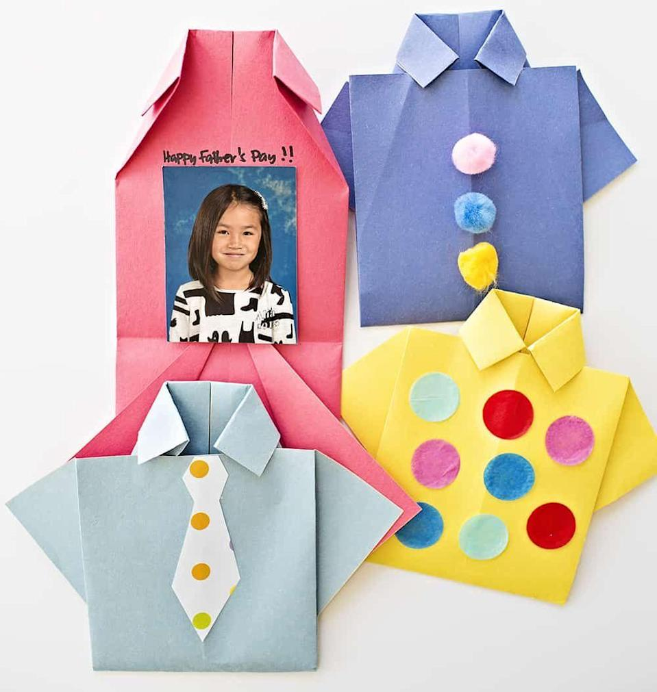 """<p>After making these fun origami crafts, you can either <a href=""""https://www.womansday.com/life/g2431/fathers-day-quotes/"""" rel=""""nofollow noopener"""" target=""""_blank"""" data-ylk=""""slk:write a Father's Day message"""" class=""""link rapid-noclick-resp"""">write a Father's Day message</a> or leave a sweet picture inside for Dad to find. </p><p><em><strong>Get the tutorial at</strong><strong> <a href=""""https://www.hellowonderful.co/post/EASY-ORIGAMI-SHIRT-FATHER----S-DAY-CARD/"""" rel=""""nofollow noopener"""" target=""""_blank"""" data-ylk=""""slk:Hello,"""" class=""""link rapid-noclick-resp"""">Hello, </a></strong><strong><u>Wonderful</u></strong><strong>.</strong></em></p>"""