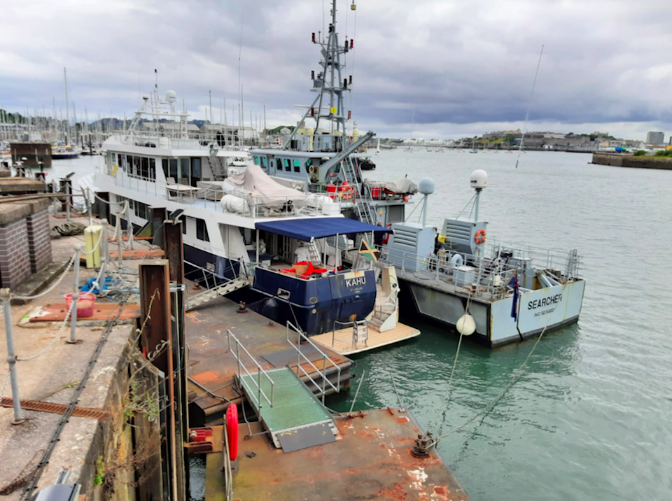 The yacht Kahu that was stopped by Border Force and the Australian Federal Police on September 9. (National Crime Agency/PA)