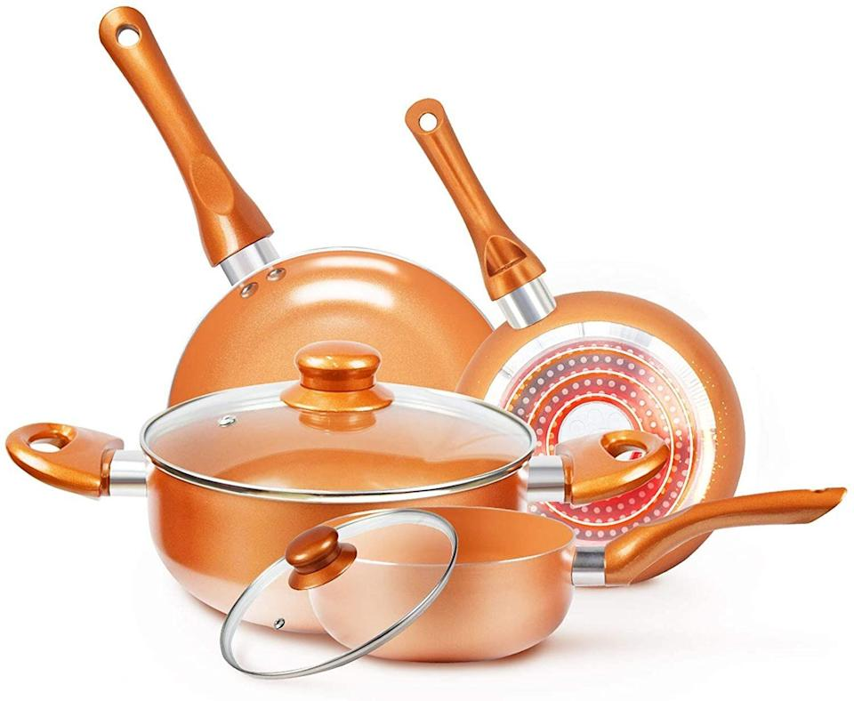 """You can find this cookware set for more than 40% off this Prime Day. If you're not looking for a completely new cookware set, this one has two fry pans, a stock pot and milk pot. The cookware has a non-stick coating, too.<a href=""""https://amzn.to/3druSVk"""" target=""""_blank"""" rel=""""noopener noreferrer"""">Originally $97, get the set now for $55 at Amazon</a>."""