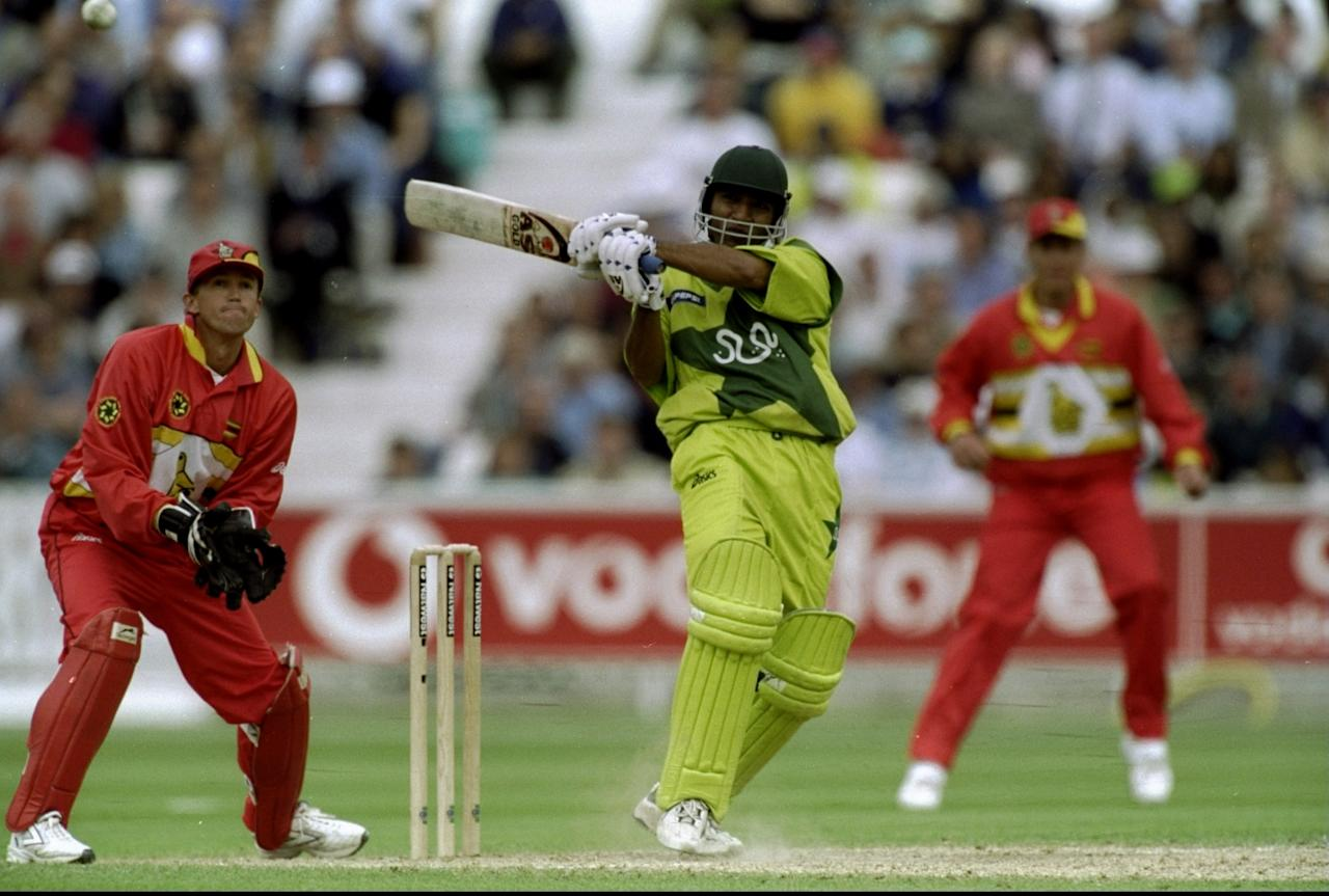 11 Jun 1999:  Saeed Anwar of Pakistan on his way to a century in the World Cup Super Six match against Zimbabwe at the Oval in London. Pakistan won by 148 runs.  \ Mandatory Credit: Shaun Botterill /Allsport