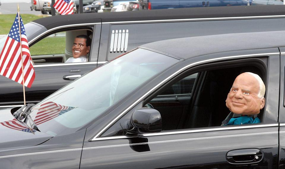 <p>With the 2008 presidential election taking place just eight days after Halloween, politics were on everywhere's minds. Obama, McCain, and Palin masks and costumes were particularly popular this year.</p>