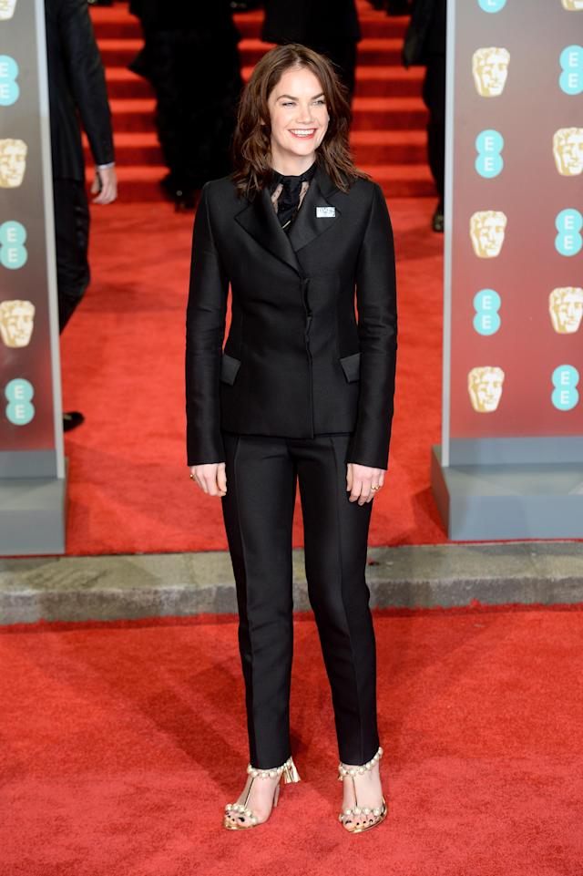 "<p>The ""Luther"" star arrived wearing a sharp, tailored trouser suit by Dior. <em>[Photo: Getty]</em> </p>"