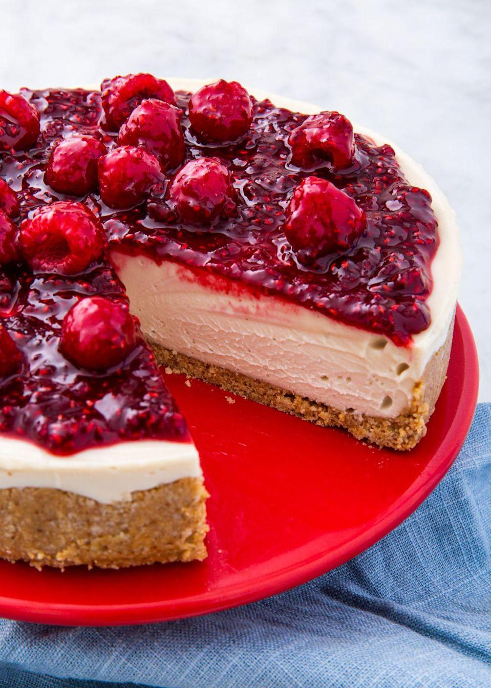 """<p>All the goodness of any other cheesecake, but vegan friendly.</p><p>Get the recipe from <a href=""""https://www.delish.com/cooking/nutrition/a29369129/vegan-cheesecake-recipe/"""" rel=""""nofollow noopener"""" target=""""_blank"""" data-ylk=""""slk:Delish"""" class=""""link rapid-noclick-resp"""">Delish</a>.</p>"""