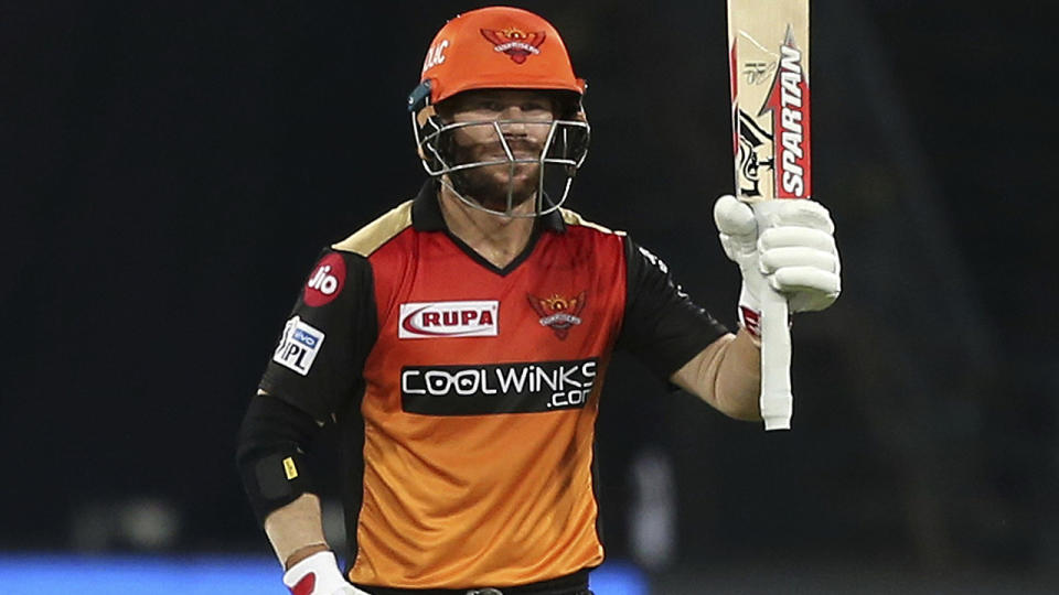 David Warner, pictured here in action for Sunrisers Hyderabad in 2019.
