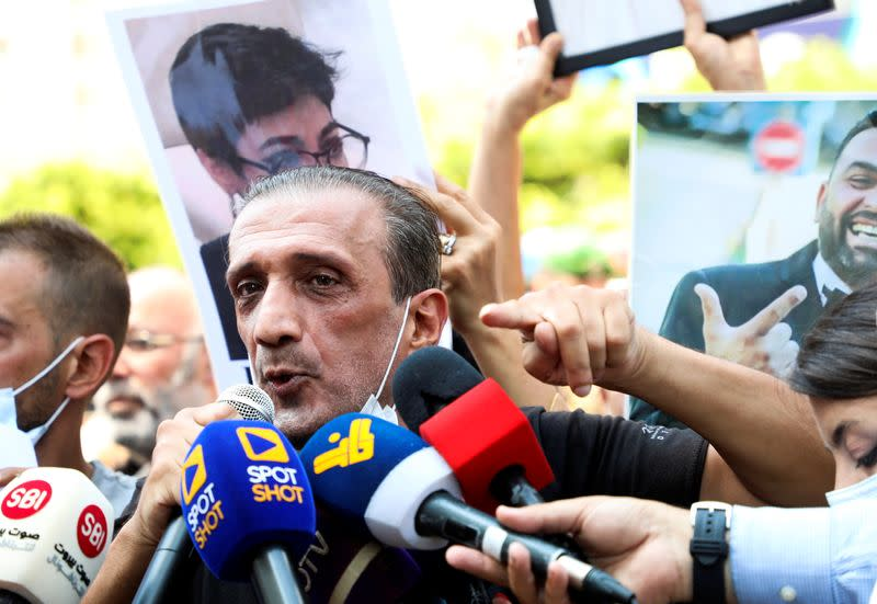 Ibrahim Hoteit, the spokesperson for families of the victims of August 4 explosion at Beirut port, gestures as he speaks to the media during a protest in Beirut