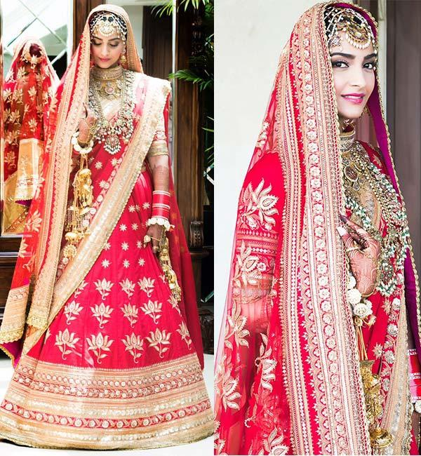 <p>The fashionista of Bollywood donned a beautiful red lehenga by Anuradha Vakil for her wedding day earlier this year, which is worth around Rs. 70-90 lakhs. </p>