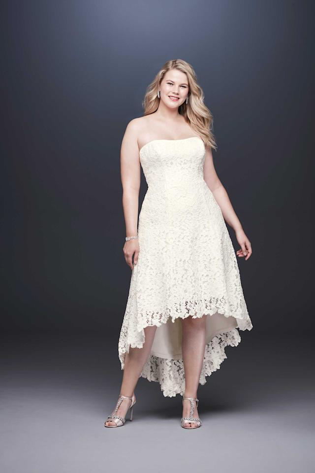 <p>Galina strapless lace dress, $300, available spring 2019 at David's Bridal </p>