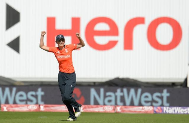 England's captain Edwards celebrates after they win the third women's Twenty20 international cricket match against South Africa at Edgbaston cricket ground in Birmingham