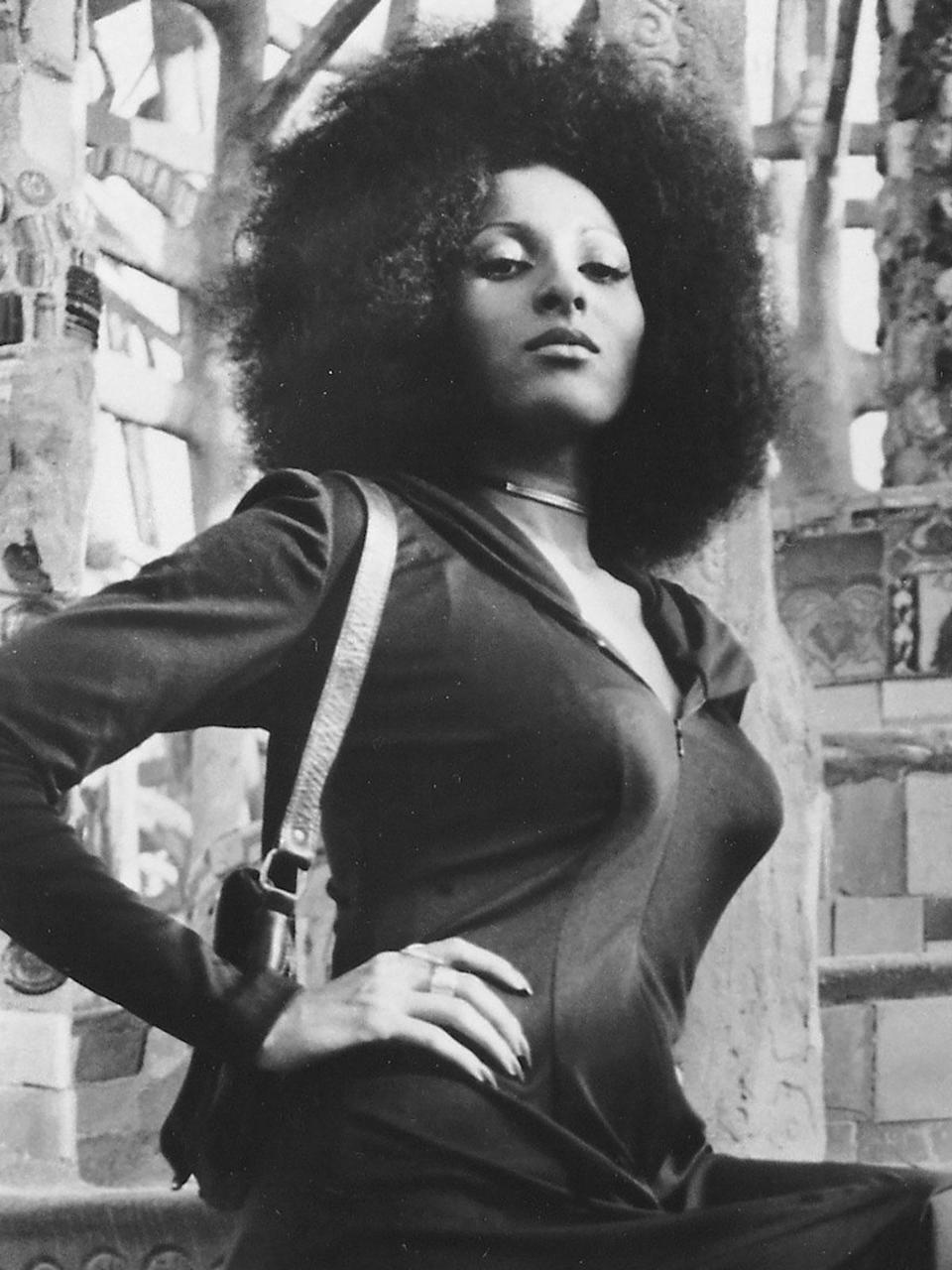 <p>Pam Grier was the it-girl of the 1970s. Throughout the decade, the acclaimed actress rocked a beautiful Afro throughout most of her films, including <em>Hit Man</em>, encouraging other Black women to do the same. </p>