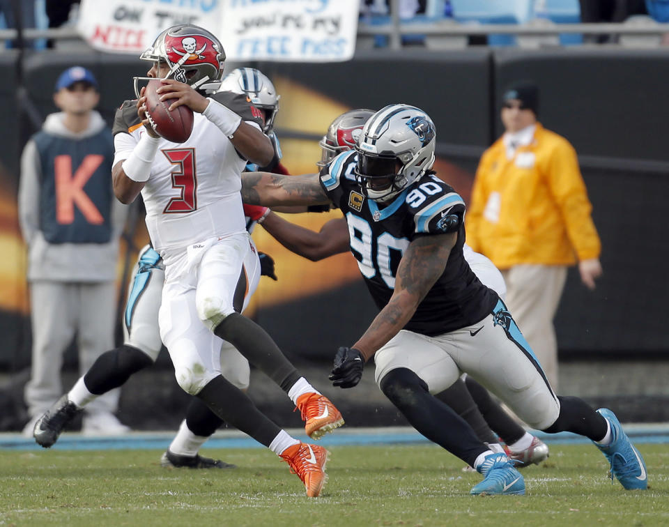 Buccaneers quarterback Jameis Winston was sacked seven times by the Panthers, and had three lost fumbles, including one to effectively end the game. (AP)