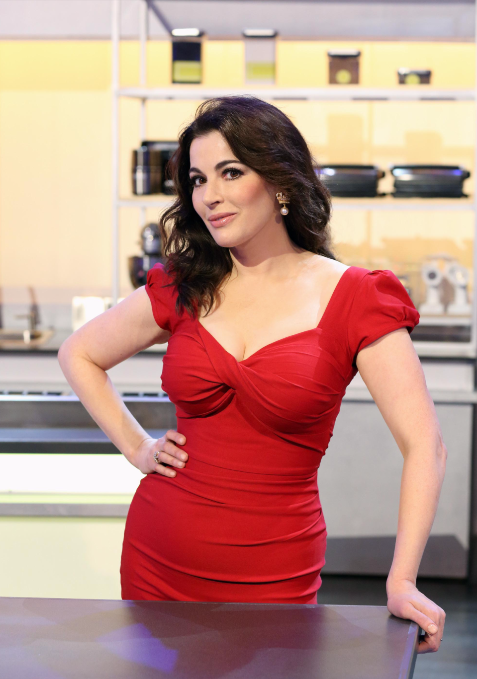 Nigella Lawson, pictured in 2013 during filming of 'The Taste'. [Photo: Rex]